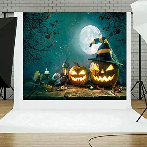 Tuttavia Halloween-Hintergrund-Kürbis-Vinyl 5x3FT Laternen-Hintergrund-Fotografie-Studio Studio-Hintergrund-Stoff Halloween-Foto-Studio-3D (81C)