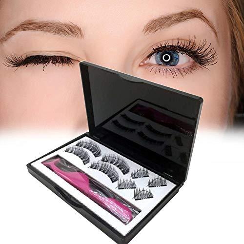 heresell Faux Cils magnétiques 3D Doubles Cils magnétiques Travail Manuel Pur pour la Couleur Noire 8PCS