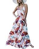 Auxo Damen Blumen Kleid Ärmellos V-Ausschnitt Kleider Lange Dress Party Club Strandkleid Weiß 2 EU 36/Etikettgröße S