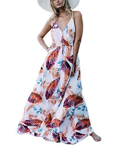Auxo Damen Blumen Kleid Ärmellos V-Ausschnitt Kleider Lange Dress Party Club Strandkleid Weiß 2 EU 36/Etikettgröße S - Abschlussball Weiß V-ausschnitt Kleider