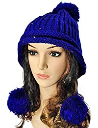 DEED Sombreros de Mujer - otoño e Invierno Sombrero de Punto Lindo Sombrero  Femenino Orejeras línea 929b7839349