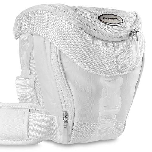 Mantona Colt Kameratasche (Universaltasche inkl. Schnellzugriff, Staubschutz, Tragegurt und Zubehörfach, geeignet für DSLR- und Systemkameras) weiß