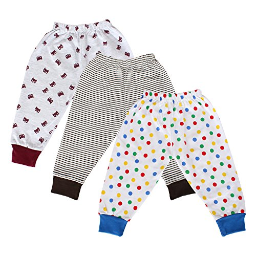 Tiddlee Baby Kids Clothes - for Girls and Boys - Children Combo set - Pack of 3 Printed Multicolour Pajama Pants / Legging / Pajami / Lower / Trouser / Pyjama with colored Rib - Soft & 100% hosiery cotton - Multi-color - Child Skin friendly, Durable & High Quality Coloured Clothing Apparel - (9-12 months) - (9 months - 1 year)  available at amazon for Rs.289