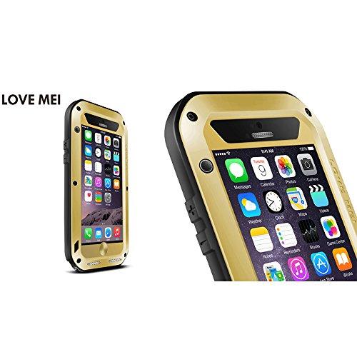 Love Mei Schutzhülle wasserdicht für iPhone 6(11,9cm), aus Aluminiumlegierung Metall Gorilla Schutzhülle mit Displayschutzfolie goldfarben