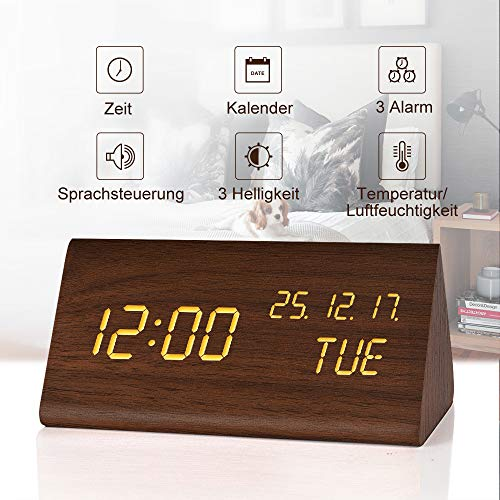 fomobest LED Wecker Digital Wecker Wiederaufladbar Holz Tischuhr Datum/Temperatur Anzeige Walnuß (Holz Digital Wecker)