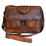 Mad Over Shopping, Sacoche porte documents Crossbody en cuir véritable vintage Steampunk rétro