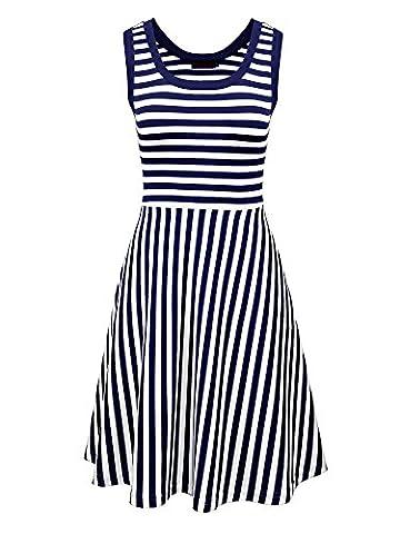 Vessos Women Round Neck Sleeveless Striped Beach Tank Dress With