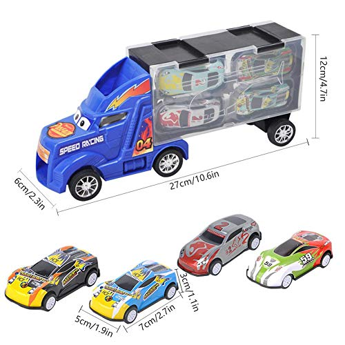 Playsets-Container Automodell Aufbewahrungsbox mit 4 zurückziehbaren Metallauto-Modellsatz für Kinder ()