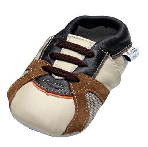 Jinwood - Trainer beige - Mini Shoes - Turnschuhe - Hausschuhe - Lederpuschen - Krabbelschuhe - by Amsomo -