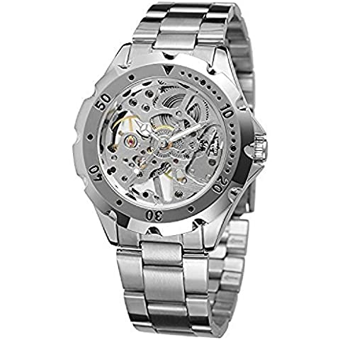 qiyan Esqueleto Mecánico Reloj de acero inoxidable para hombre