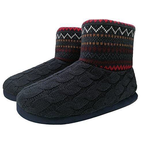 ONCAI Herren Stricken Künstliche Wolle Warme Indoor Hausschuhe Stiefel Rutschfest,Rot,42 EU (UK 8 US 9) -
