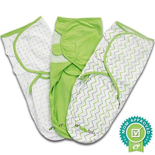 Ganzkörper PUCKSACK für Neugeborene und Babys aus 100{7b53322ec62cbb8edfdb613a9a34d592c9f76fae4b2edd1b0d1da2927d55073f} weicher Baumwolle von Ziggy Baby - 3er Pack - Einstellbares Wickeltuch / Einschlagdecke für Säuglinge von 3 bis 6 Kilo - grün und weiß