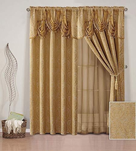 e mit 2 Gardinenstangen und Stickerei, modernes Jacquard-Vorhang-Set mit befestigter, durchscheinender Rückseite, Volant und Quasten für Wohnzimmer, Esszimmer oder Schlafzimmer gold ()