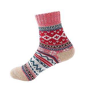 BaZhaHei Damen Mode Bequem Socken Winter Warm Neue Vintage Winter weiche warme Dicke kalte Wolle Crew Socken Geometry…