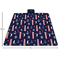 PREMYO Manta de picnic impermeable 200x200 cm. Manta picnic grande en azul y de vellón. Manta de picnic XXL plegable con asa, aislante y acolchada ideal para playa, parque o camping