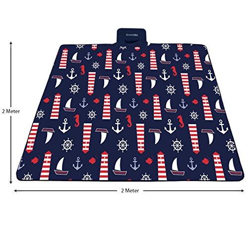 PREMYO Picknickdecke XXL 200x200 cm extra groß und wasserdicht. Fleece Picknickdecke in Blau. XXL Picknickdecke isoliert mit Tragegriff faltbar / gerollt ideal für den Strand, Park oder Camping