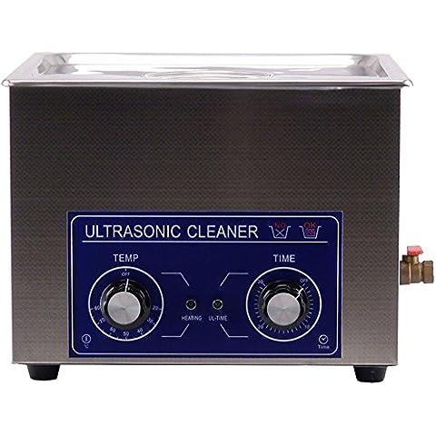 Jakan - Pulitore a ultrasuoni in acciaio INOX meccanico, con timer e riscaldamento, Acciaio inossidabile, Grigio, 15 L