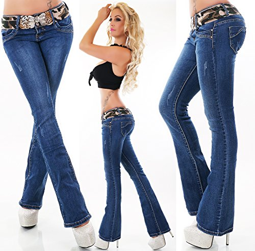 f48ab724341 Quality Women's stretchy blue Hipster Boot-cut jeans + Belt. Sizes UK 6-14