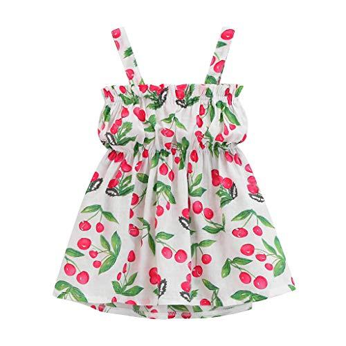 hen Sommerkleid Sommer Lässige Sling Kleid Mode Ärmelloses Kleid Freizeitkleidung Rüsche Fruchtdruck Kleid Strand Blumenkleid Kurzes Lockeres Prinzessinkleid ()