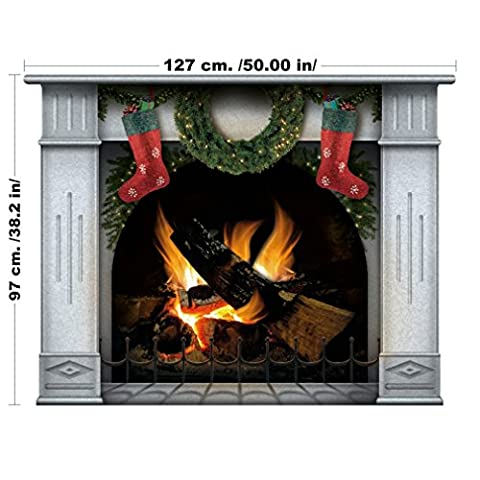 Fireplace Wall Sticker with Christmas Wreath and Stockings - 127 x 97 cm Large Home Xmas Decal for Your Living Room - Easy to Apply Vinyl Holiday Wallpaper (Large, Ivory)