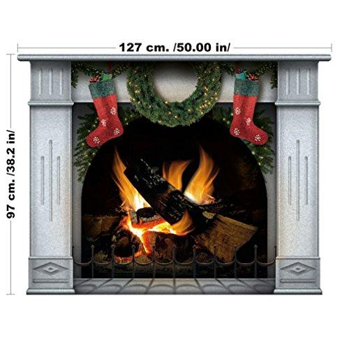 - Weihnachten Kamin komplett mit Strümpfen bereit für Santa Claus und die Geschenke, Wall Art selbstklebenden Aufkleber (Groß, Blau) (Die Herkunft Von Santa Claus)