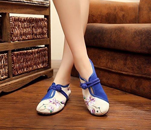 ZQ Gestickte Schuhe, Sehnensohle, ethnischer Stil, Femaleshoes, Mode, bequeme Segeltuchschuhe , black , 39