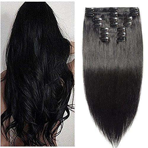 8pz 40cm extension fasica con clips capelli veri umani remy resistente al calore full head parrucca nera