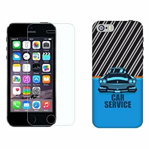 Printland Tempered Glass + Back Cover Combo For Apple iPhone 5