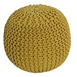 Homescapes Yellow Knitted Pouffe Footstool Bean Filled 100% Cotton for Living Room Children or the Elderly