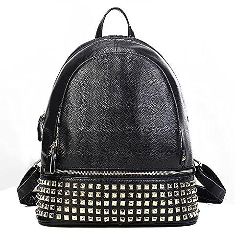 Macton Femme rivet Sac à dos en cuir noir MC-3013 (noir)