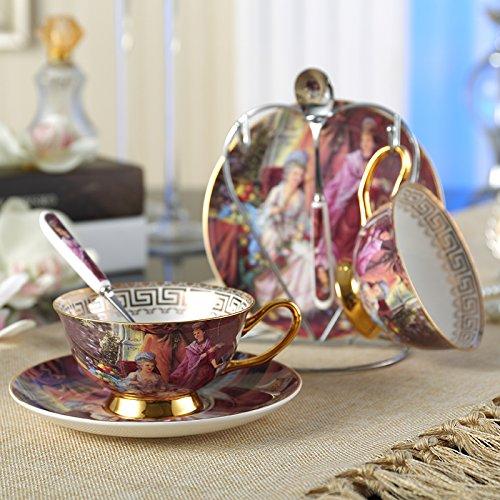 Panbado Porzellan Kaffee Tee Set, 2 Kaffeetassen 200 ml mit Untertassen, Löffel und Ständer