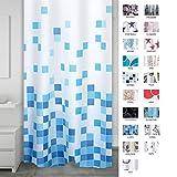 RIDDER 403310 Duschvorhang Textil ca. 180 x 200 cm, Cubes