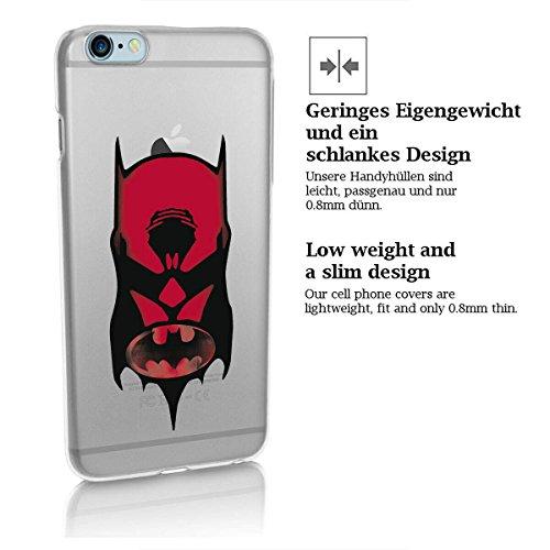 finoo | iPhone 8 Handy-Tasche Schutzhülle | ultra leichte transparente Handyhülle in harter Ausführung | kratzfeste stylische Hard Schale mit Motiv Cover Case |Logo become bat Batman Logo and face