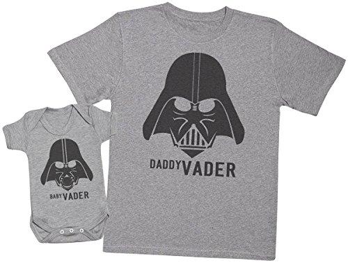 Baby Vader & Daddy Vader - regalo para padres y bebés en un cuerpo para bebés y una camiseta de hombre a juego - Gris - Large & 18-24 meses