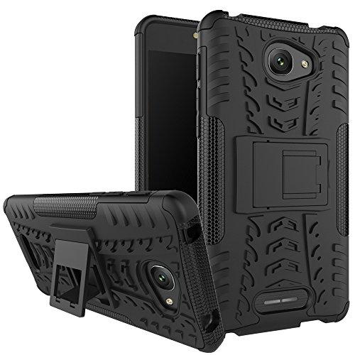 Nadakin Alcatel One Touch Pop 4S Hülle Schutzhülle Hybrid Rugged Phone Case Stoßfest Handys Schutz Cover mit eingebautem Kickstand Shockproof für Alcatel One Touch Pop 4S (Schwarz)