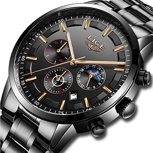 XIXIDEREN Herren Uhr Analog Quarz mit Edelstahl Armband S-0125