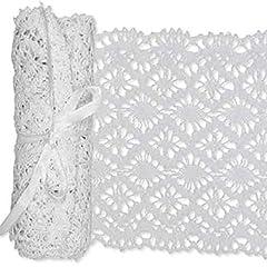 Idea Regalo - Penna a pizzo crochet realizzato decorativo in cotone larghezza: 15cm lunghezza: 180cm colore bianco