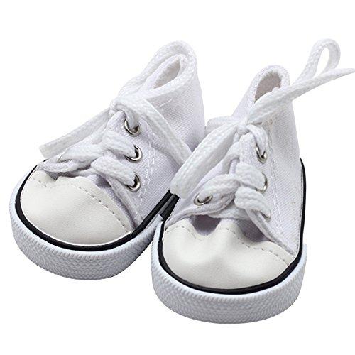 mxjeeio 7cm*4cm Sneaker Denim Puppenschuhe - Puppenkleidung & Puppenzubehör für Segeltuchschuhe mit 18 inch Zoll amerikanischen Jungenmädchens Babypuppen