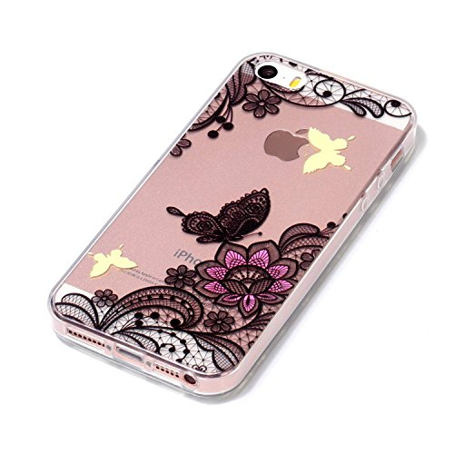 Coquille pour iPhone 5S 5,Souple Silicone Coque pour iPhone SE,Leeook Ultra Mince Créatif 360 Degré Full Body Double Sides 2 in 1 Protecion Transparent Clair Cristal Conception Absorption de Choc Bump Noir Fleur Papillon