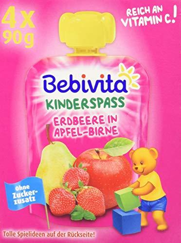 Bebivita Kinder-Spaß Erdbeere in Apfel-Birne, 4x90 g
