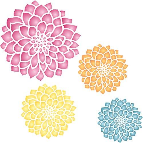 Zinnia Schablone-wiederverwendbar Groß Fancy Blumen Wandbild Wand Schablone-Vorlage, auf Papier Projekte Scrapbook Tagebuch Wände Böden Stoff Möbel Glas Holz etc. Größe S