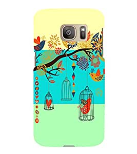 PrintVisa Corporate Print & Pattern Bird Cage 3D Hard Polycarbonate Designer Back Case Cover for Samsung Galaxy S7