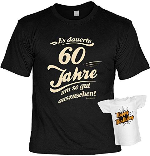 Cooles Geburtstagsgeschenk Leiberl für Männer T-Shirt Set mit Mini T-Shirt Es dauerte 60 Jahre um so gut auszusehen! Leibal zum Geburtstag Schwarz