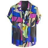 BHYDRY Mens Patchwork Hit Farbe gedruckt drehen unten Farbe Kurzarm Freizeithemden(XXX-Large,Grün
