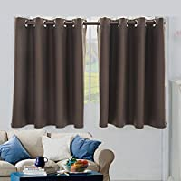 urijk dormitorio cortinas oscurecimiento habitación–Beige cortinas de oscurecimiento habitación/paneles para dormitorio 50x 35pulgadas de largo, con aislamiento térmico, privacidad seguro, marrón, Size:132*90