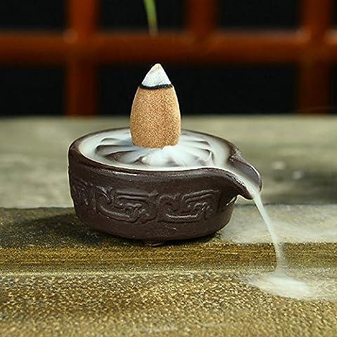Soporte de quemador de incienso de cerámica hulisen budista pebetero + 10Cono de reflujo (uso en viento medio