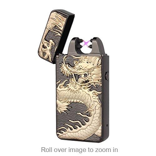 Elektronisches Feuerzeug Aufladbar, LAZU-lighter Dopple Lichtbogen Feuerzeug USB Elektro Winddichte Flammenlose Plasma Feuerzeug (Schwarz Drache)