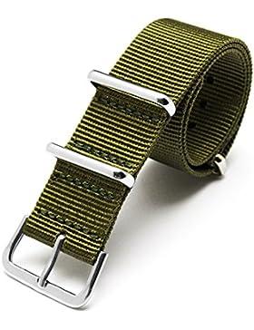 JSDDE Nylon Uhrenarmband 18mm 20mm 22mm Uhrenband Uhrband Sport Militär Ersatzarmband mit Edelstahl Dornschließe...