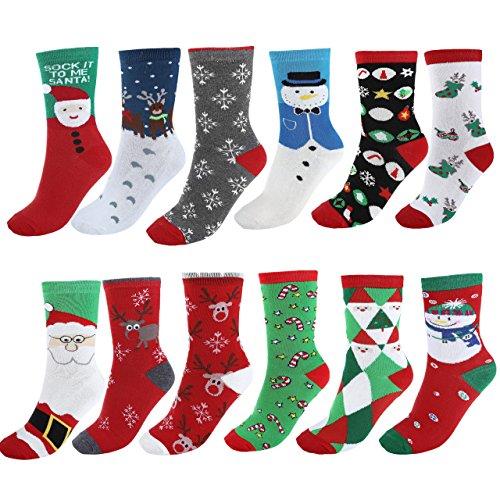 Ayliss® 12 Paare Mix Design Frau Mädchen Weihnachten Festlicher Spaß Neuheit Cotton Socken Weihnachtssocken Christmas stockings Gr.35-38