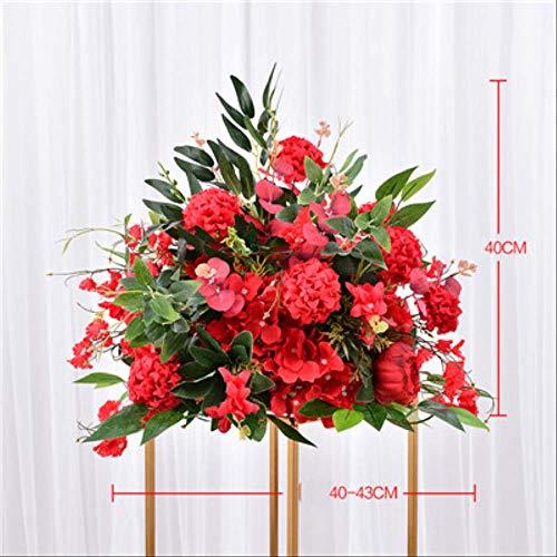 NIMEYX 40 cm Künstliche Rose Hochzeit Tischdekor Blume Ball Mittelstücke Hintergrund Decor Party Tisch Floral Straße Blei Blumerot (Der Wedding Rote Mittelstücke)